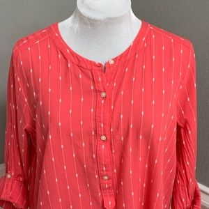 LOFT Softened Coral Pullover w Roll-Tabbed Sleeves